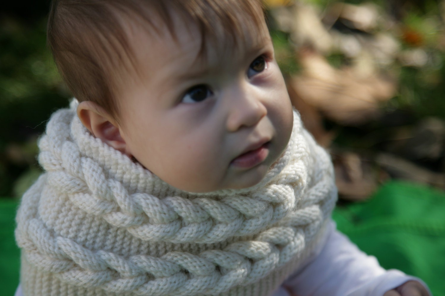 Knit Pattern Cowl Neck Warmer : Knitting Pattern Bulky Cable Cowl neck warmer baby child