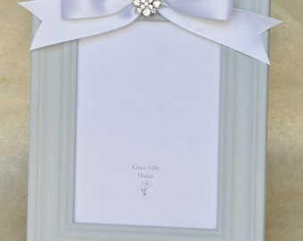Embellished Picture Frame with Bow-CHOOSE your Size 4x6, 5x7