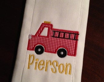 Burp cloth with firetruck applique and name