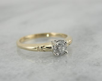 Retro Vintage Engagement Ring with European Cut Diamond HC363V