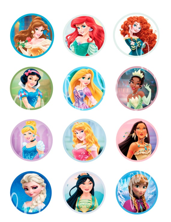Items similar to Disney Princess cupcake toppers, Disney ...