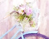 Ma Bicyclette:  A Shabby Chic French Inspired Watercolor Fine Art  Print for the French Cottage Chic or European Styled Home