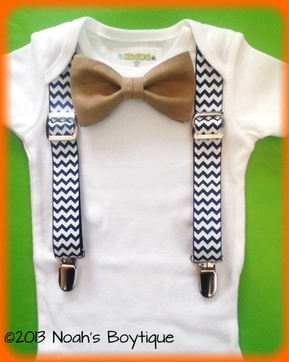 Baby Boy Clothes Navy Chevron Suspenders Tan by NoahsBoytiques