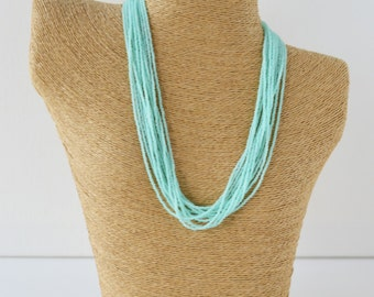 Mint necklace, statement necklace,aqua green bridesmaid necklace,seed bead necklace,multistrand necklace,beaded necklace,light turquoise