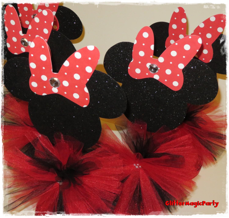 Decoracion Minnie Roja ~ SET DE 2 Minnie Mouse Roja Centros de Mesa  por GlitterMagic23s