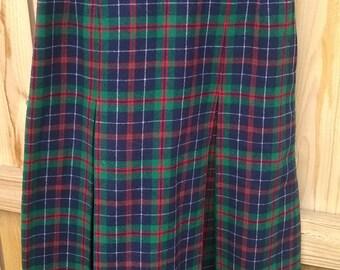 vintage PENDLETON plaid wool mid-calf pleated skirt S