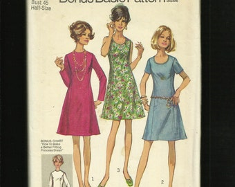 Vintage 1970  Simplicity 8889 Slimming Princess Seam Dress How to Fit Pattern Size 22.5