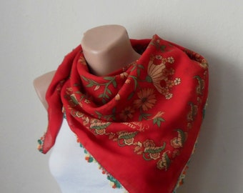red scarf yellow  flower  green cotton turkish yemeni oya handmade