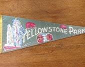 Vintage Yellowstone Park Tourist Pennant, 1940's or 1950's souvenir