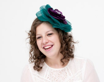 Paisley - Green and Purple Fascinator made with silk