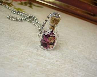 Red Roses in a Vial - Dried Rose Petals Glass Bottle Necklace Charm - Square Cork Vial - Real Roses