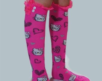 Pink Girls Socks High Knee Socks Cat Socks Trim top Lace and Buttons