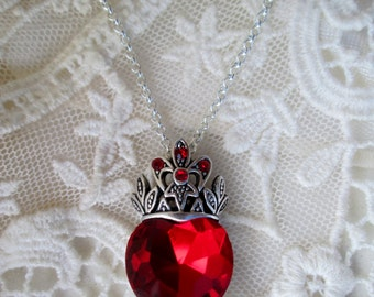 Special Sale, Ruby Heart, Gifting Jewelry Ready, Ruby Red Crystal Heart Pendant, Timeless Inspired Romantic, Downton,Victorian,Edwardian
