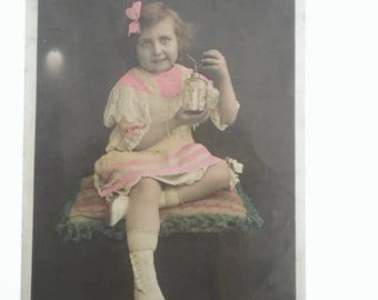 French Vintage Postcard . French Postcard . Girl Postcard . Children's Postcard .Perfume Bottle. Vintage Postcard . Old Postcard .