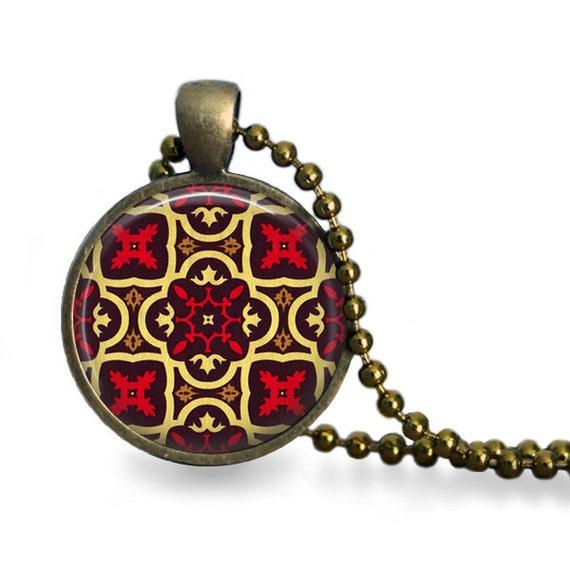 moorish tile pendant necklace moroccan design antique bronze
