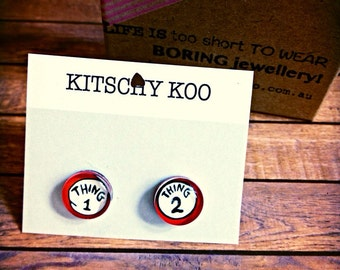 FREE SHIPPING - Mismatched Thing 1 Thing 2 Dr Seuss Earrings, unique kitsch hypoallergenic glass earring studs. Surgical steel nickel free