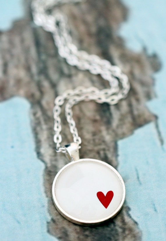 FREE SHIPPING Red Heart on White. Glass necklace in silver or bronze.