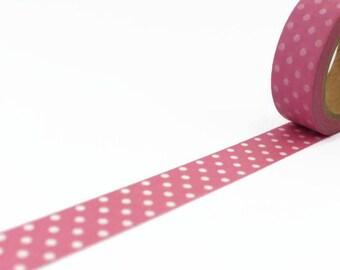 Pastel Washi Tape - Pink with White Polka Dots - Spotty Masking Tape