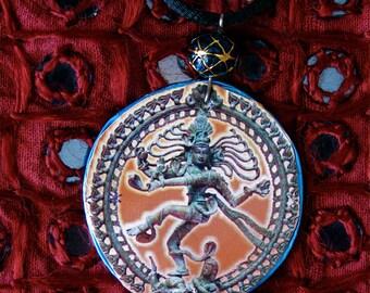 Recycled bottle cap Shiva Nataraj necklace, Upcycled bottle cap necklace,repurposed bottle cap necklace