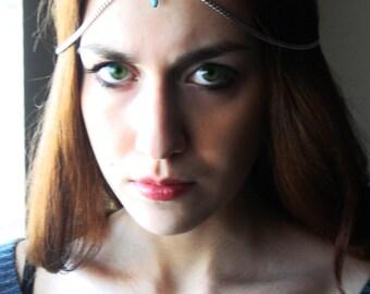 CHAIN HEADPIECE Head Chain, Vintage Head chain, headdress gypsy head piece.Turquoise head chain. Bohemian jewelry