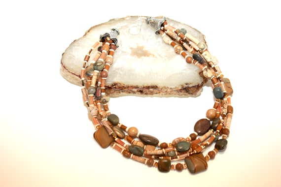 CIJ/ Multi Strand Jasper Gemstone Necklace/ Sundance Style/ Natural Stone Necklace/ Boho/ Rustic/ Earthy Organic Necklace