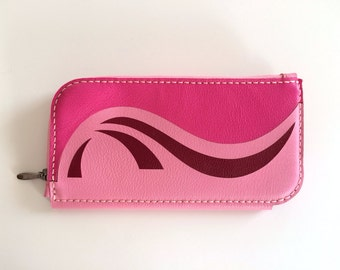 Leather Wallet, Leather Women Wallet, Leather Purse, Leather Clutch, Pink, Dark Pink and Bordeaux
