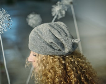 Slouchy woman 100% 'baby alpaca' hat / woman / adult / alpaca wool gray slouchy beanie / over-sized knit hat