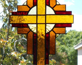 Stained Glass Cross Suncatcher, Amber #116
