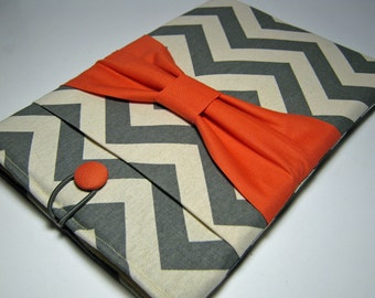 iPad Air Case, Ipad Case, Sony Xperia case, iPad Air Sleeve, Kindle Fire 8.9, iPad Pro Case, Gray Chevron Coral Bow
