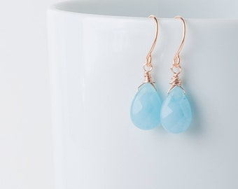 Rose gold earrings, Blue jade rose gold drop earrings, rosegold bride