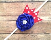 4th of July Headband - Red White Blue Stars Ribbon Headband - Rhinestone Button - Fourth of July Baby Chic - 2014