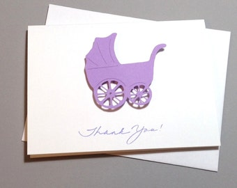 Baby Shower Thank You Note Card Set Handmade Stroller, Purple Lilac Stroller Thank You Cards, Baby Shower Stroller Cards