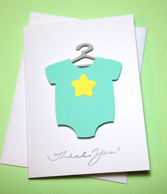 Baby Bodysuit One Piece on a Hanger Baby Shower Thank You Cards Baby Shower Onesie Cards, Baby Cards, Mint Green, Baby Shower Thank You Card