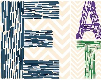 Set of 3 - EAT Kitchen Prints E A T Chevron Wall Hanging Print 13x19 Poster 8x10 11x17 Pop Art Modern Remodel p76,77,78