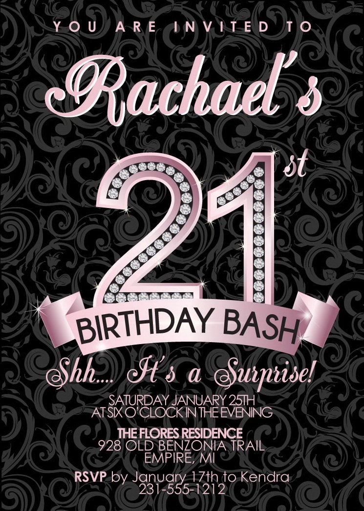 21 bday invitations anuvratinfo – Free 21st Birthday Invitation Templates