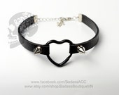 Black faux vegan leather black heart ring straps stainless steel spikes studs choker collar - sexy rock punk lolita cosplay