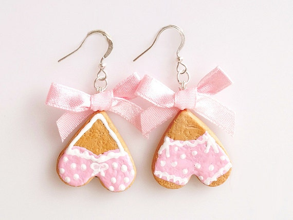 Mini Food Lingerie Cookies Hook Earrings, Miniature Food Jewelry, Handmade Earrings, Polymer Clay Sweets, Kawaii Jewelry, Cute Jewelry