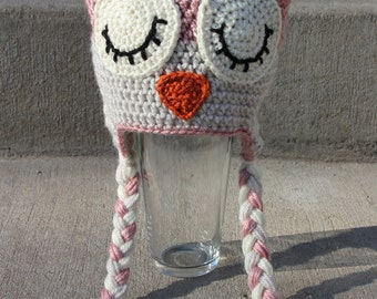 Sleepy Owl Crochet Baby Hat