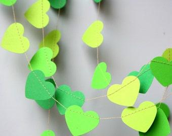 Heart garland, Green heart garland, Wedding decor, Bridal shower decor, Green wedding garland, Green garland, Paper garland, KCO-3045