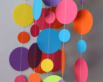 Paper garland, Birthday decorations, Birthday party decor, Birthday banner, Circle paper garland, Nursery decor, Baby shower, KC-1090