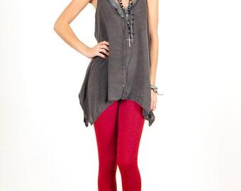 Lipstick Red Stretch Cotton Leggings