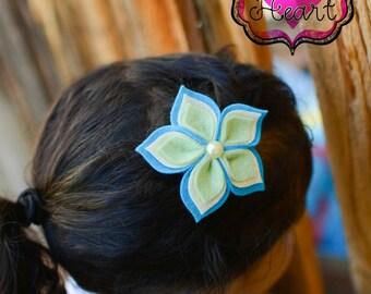 Felt Flower Clip - Hawaiian Blues - Layered Felt Flower Clip - Felt Flower Hair Clip - Felt Headbands - Hair Clips for Girls - Flower Clips