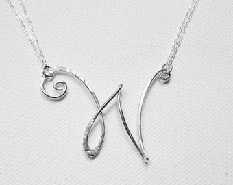 Letter W Necklace Personalized Necklace Large Letter Necklace Initial W Necklace Silver Letter W Necklace Sterling Silver Letter