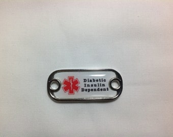 "Medical Alert ""Diabetic Insulin Dependent "" Dog Tag Style Paracord Charm"