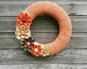 Orange Burlap Wreath, Autumn Wreath, Wreaths, Orange Chevron Wreath, Home Decor Wreath, Door Wreath Burlap