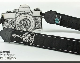 DSLR Camera strap, padded, black GOTHIC