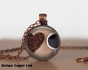 Coffee Heart Love Necklace Coffee Pendant Necklace or Coffee Keyring Coffee Jewelry Java