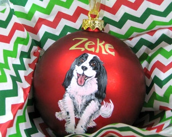 Custom Pet Portrait Painting on 3.25 inch red ornament