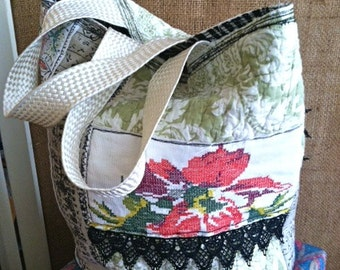One-of-a-kind, colorful tote bag with vintage embroidery