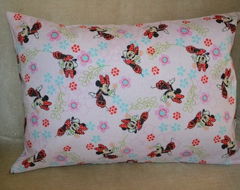 Travel Pillow Case  / Child Pillow Case Walt Disney MINNIE MOUSE with FLOWERS